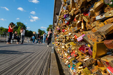 Wall Of Love Locks In Bridge With People As Background