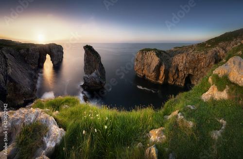 Northern Spain, Asturian Coast At Sunset