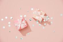 Background Xmas Design Of Realistic Gifts Box And Glitter Silver Confetti