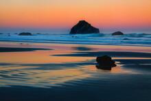 USA, Oregon, Bandon. Sunset On Face Rock Sea Stack.