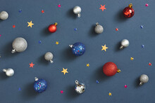 Christmas And New Year Background With Blue Starry Decorative Balls For Christmas Tree. Place For Text.