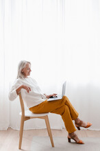 Stylish Middle Aged Businesswoman Using Laptop At Home
