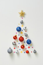 Christmas Composition. Christmas Tree Made Of Colorful Decorations On White Background. Flat Lay, Top View, Square