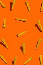 Yellow Microphones On Orange Background