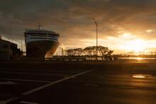 Honolulu Harbour, Docked Boat At Sunset