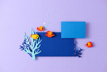 Paper Cut For World Ocean Day Deep Underwater Sea. Blue Marine Life