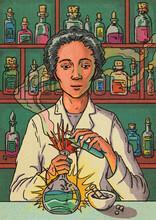 Female Pharmacist Illustration Chemist Pouring Chemicals