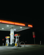 Empty Gas Station At Night