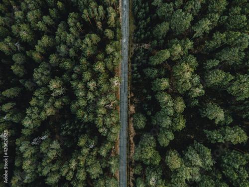 aerial straight roads