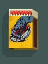 Matchbox With A Burning Car