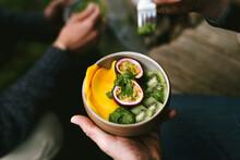Fruit Bowl With Passion Fruit, Kiwi And Mango