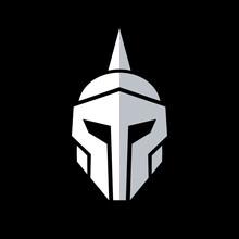 Knight Armor Logo Design, Medieval Warrior Helmet Icon, Vector Illustration