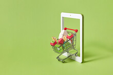 Handmade Paper Fruits In A Trolley As Online Ordering.