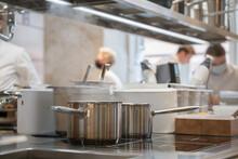 Metallic Bowls In Professional Kitchen