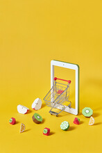 Online Ordering Handmade Paper Fruits And Market Cart.