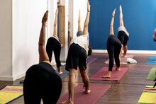 Yoga Class Doing Warrior Position