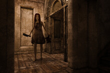 Scary Girl With Cleaver