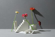 Minimal Simple Modern Floral Concept With Frame.