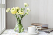 White Ranunculus With Coffee And Books