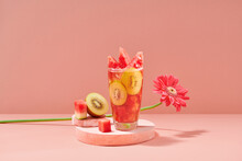 Summer Fresh Fruit Flavored Infused Water Of Kiwi, And Watermelon
