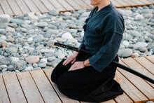 Crop Samurai Meditating On Path