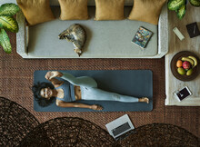 Home Fitness, Asian Woman Working Out At Home In Living Room, Aerial View