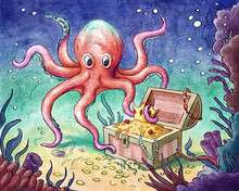 Octopus And Underwater Treasure Watercolor Illustration