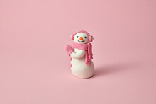 Handmade Plasticine Or Modeling Clay Figure Of Snowman.
