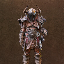 Fantasy Warrior With Horned Helm And Sword Standing