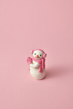 Cute Snowman Handmade From Modeling Clay Or Plasticine.