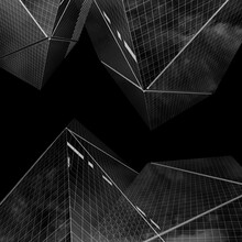 Glass And Steel Buildings Black And White Art