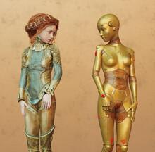 Futuristic Fantasy Teen Girl With Female Gold Cyborg