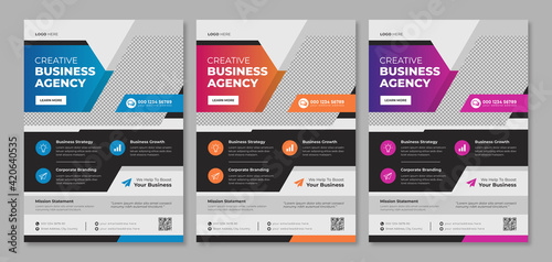 Fotomural Modern business flyer template design for company service promotion