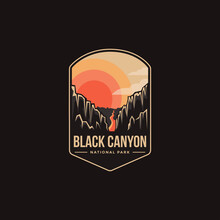 Emblem Patch Logo Illustration Of Black Canyon National Park On Dark Background