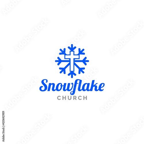 Fotografia Snowflake Church Logo Design Vector