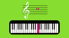 The G-clef In Second Line. Musical Note C Located In The Third Space Of The Staff And Its Piano Key. Illustration With Reference To Art. Teaching Of Writing, Sol-fa, Music Education.