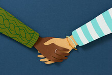 Business Concept Of Excellent Partnership Shaking Hands , Paper Art