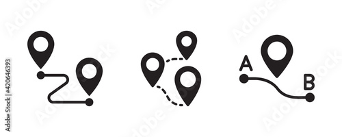 Fotografie, Obraz Map, route, gps distance, roadmap icon set