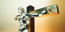 Technology Crucifiction, Robot On Golden Cross