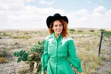 Texas Western Cowgirl Smiling