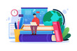 Online self education cartoon poster with sitting on textbooks man with laptop outline style background vector illustration