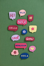 Colorful Stickers With Emotional Phrases.