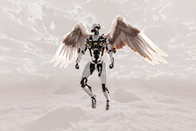 Futuristic Robot With Feathered Wings Hovering Over Cloudscape