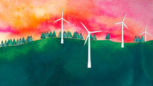 Wind Turbines At Sunset, Watercolour Collage