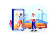 People using online ordering taxi car sharing mobile application concept
