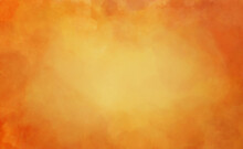 Orange Background With Watercolor Texture, Warm Autumn Or Fall Colors For Halloween Or Thanksgiving, Burnt Hot Orange Border With Yellow Center