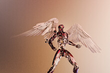 Futuristic Robot With Feathered Wings