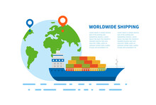 Concept Of International Maritime Transport. An Illustration With Text Of Sea Deliver