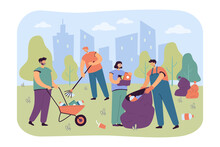 Happy Volunteers Cleaning City Park From Garbage Isolated Flat Vector Illustration. Cartoon People Collecting Trash Or Rubbish On Nature Together. Volunteering And Ecology Community Concept