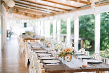 Beautiful Table Setup For An Outdoor Rustic Wedding